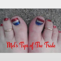 CND Shellac and glitter Fourth of July nails/toes