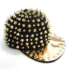 FuzzyGreen® Punk Rock Style Gold Hedgehog Rivet Spike Studded Bright Brim Flat Bill Black Adjustable Hip Hop Baseball Cap Hat (Black with Gold Rivet) at Amazon Men's Clothing store:
