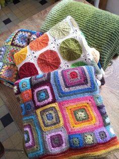 crochet (f to b - Granny Square Blanket,  Sunny Spread, Babette Blanket - all on raverly.com)