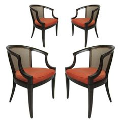 Final Game chairs LR option 1: Set of Four Saber Leg Armchairs with Cane Backs | 1stdibs.com