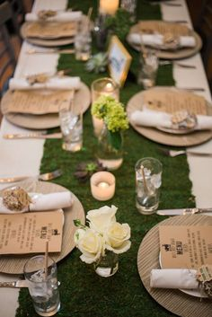 Table settings at a woodland boho baby shower party! See more party planning ideas at CatchMyParty.com!