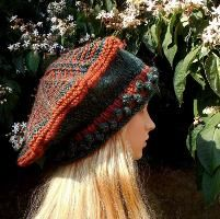 The Zigzag Tam, a variation of the Victoria Tam knitting pattern by Mountain Mist Fiberworks