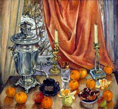 Житков Н.Е. Оранжевый натюрморт с самоваром