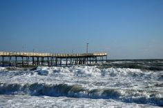 Plenty of wind and rough ocean waters at Avalon Fishing Pier in Kill Devil Hills, NC.
