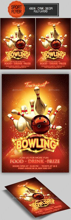 bowling flyer template psd download