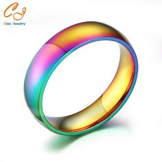 Men Women Rainbow Colorful Ring Titanium Steel Wedding Band Ring Width 6mm Size 5-13Gift - cubic zirconia jewelry