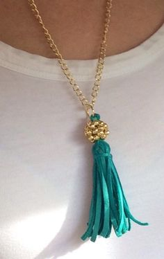 Gold Beaded Bead and Turquoise Suede Tassel Long by JewelrybyRJ, $21.99