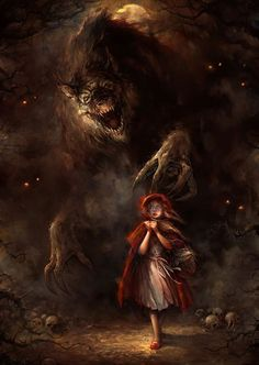 Red Riding Hood-a parable of sexual maturity:  the red cloak symbolizes the blood of menstruation, braving the dark forest of womanhood. Or the cloak could symbolize the hymen (earlier versions of the tale generally do not state that the cloak is red). The wolf threatens the girl's virginity. symbolizing a man, who could be a lover, seducer or sexual predator. This differs from the ritual explanation that the entry into adulthood is biologically, not socially, determined.   (art: Blaz…
