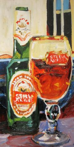 Beer Art Painting Print of STELLA ARTOIS  by RealArtIsBetter, $35.00