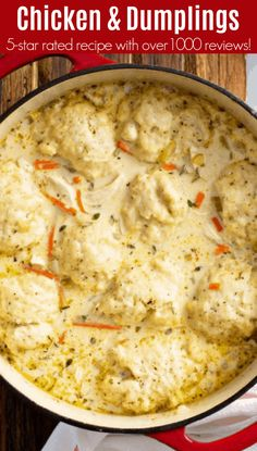 This 5 star recipe for my family's favorite creamy Homemade Chicken and Dumplings is loaded with big fluffy dumplings that are made from scratch in just minutes! Creamy Chicken And Dumplings, Chicken Dumpling Soup, Homemade Dumplings, Dumplings For Soup, Chicken And Biscuits, Dumpling Recipe, Chicken Casserole With Dumplings, Drop Dumplings, Creamy Chicken Stew