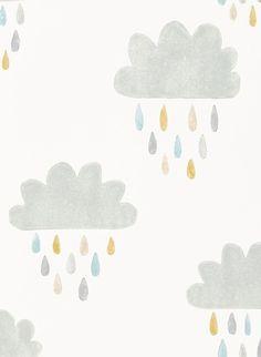 Lustige Wolken: Kindertapete April Showers von Scion