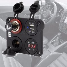 12V-Car-Dual-Cigarette-Lighter-Plug-Socket-Dual-USB-Port-Charger-Voltmeter-4-Way