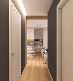 Moderrn apartment in Comfort Town on Behance Small Apartment Plans, Small Apartments, Small Spaces, Kitchen Room Design, Asile, Apartment Interior, Best Interior, Tall Cabinet Storage, Layout