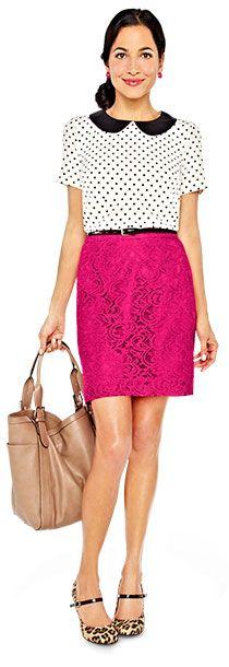 polka dot peter pan collar blouse, pink lace pencil skirt, leopard print pumps | Target.com