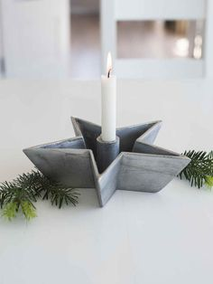 This sandblasted aluminium star candle dish would look great on any table filled with nuts or figs and your favourite colour dinner candle for a warm glow. Floor Candle Holders, Rustic Candle Holders, Rustic Candles, Christmas Table Linen, Christmas Candles, Scandinavian Christmas, Christmas Decorations Uk, Star Candle, All Things Christmas