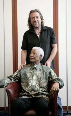 Robert Plant of Led Zeppelin with Nelson Mandella