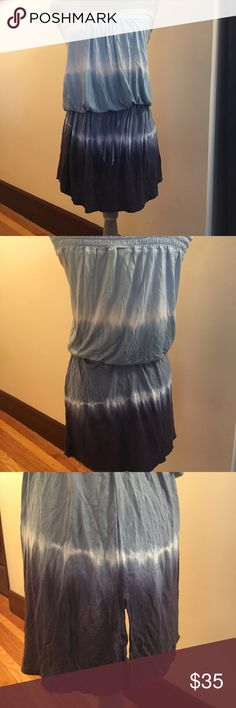 """👗Debbie Katz South Beach cover up/dress👗 Light and airy tie-dye blue and white strapless mini dress. 100% modal fabric, super soft measures: top band Unstretched is 15"""" (stitch is somewhat defective, but is on he inside of the dress, so unnoticeable see photo). Tie waist not gathered is 19"""". Offers welcomed. Please ask any and all questions. Thanks! debbie katz Dresses Strapless"""