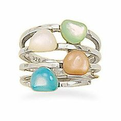 Multi Color Shell Silver Ring West Coast Jewelry. $41.95