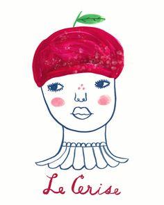 Le Cerise art print, fruit girl, portrait, french, les fruits frais series, Sarah Walsh