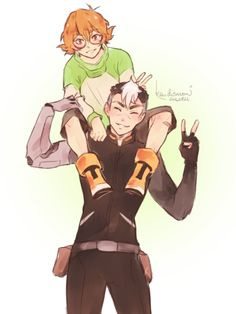 Shiro with Pidge on top of his shoulders from Voltron Legendary Defender Form Voltron, Voltron Ships, Voltron Klance, Voltron Fanart, Allura, Gurren Lagann, Shiro, Manga, Paladin
