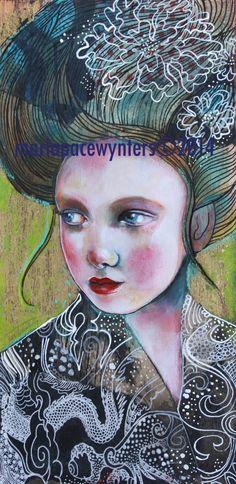 Secret Romance Original mixed media painting by MariaPaceWynters, $190.00