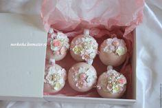 Купить Елочные шары (цвет возможен любой) - бледно-розовый, елочные шары, елочный шар
