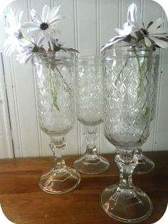 DIY mason jar goblets to use for drinking or as a vase. (via Home, Heart, Craft)