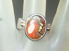 Bezel Oval Cabochon Boulder Opal Solitaire Ring Sterling Silver by Gemsbygigialonia on Etsy *Sold