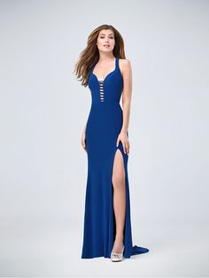 Val Stefani | Style 3204RY | Floor Length Jersey Mermaid Dress with Front Slit