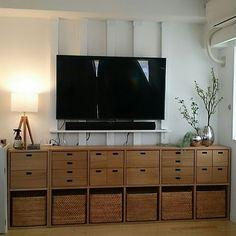 4LDKで、家族の、リビング/ディアウォール/無印良品/スタッキングシェルフ/テレビ壁掛け/ジョージ・ジェンセンについてのインテリア実例。 「ドキドキの初投稿です...」 (2017-06-10 22:25:56に共有されました) 5 Shelf Bookcase, Shelves, Muji, Dream Rooms, Kiyo, Kitchen Storage, Lounge, Living Room, Bedroom