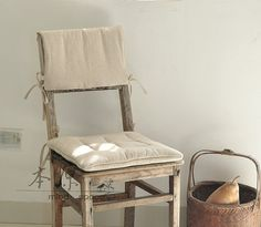 Designer Handmade Linen Chair Cushion And Back Pad Covergrey Chaiir