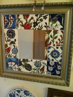 Kare çini ayna Mirror Panels, Mirror Tiles, Slab Pottery, Pottery Vase, Thrown Pottery, Ceramic Tile Art, Mosaic Art, Mosaic Tiles Backsplash, Cement Tiles
