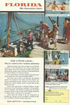 Florida Travel & Tourism Original 1956 Vintage Print Ad Color Vacation Photos Fresh Florida Seafood: Apalachicola Oysters; Fishing Boat Dock...