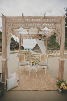 beach ceremony setup // photo by Ryder Evans // http://ruffledblog.com/bohemian-byron-bay-inspiration