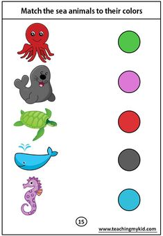 kindergarten worksheets free - Match the sea animals to their colors - alphabet activity - Fun Worksheets For Kids, Printable Preschool Worksheets, Free Kindergarten Worksheets, Matching Worksheets, Toddler Worksheets, Animal Worksheets, Preschool Kindergarten, Preschool Activity Books, Preschool Colors