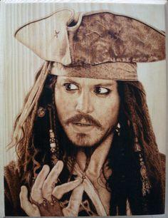Captain Jack Sparrow Pyrography (Woodburning) by ~Rob31Art on deviantART
