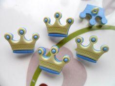 36pcs Button Crown Craft Sewing Cardmaking Craft Blue & Green 17x20mm
