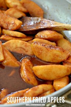 Fall is apple picking season and this delectable Fried Apples recipe takes less than 20 minutes and has five ingredients that you may already have on hand. Apple Recipes Healthy Clean Eating, Apple Recipes Easy, Honey Recipes, Crockpot Recipes, Cooking Recipes, Baked Cinnamon Apples, Fried Apples, Cooked Apples, Cinnamon Desserts