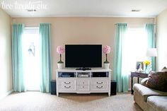 These DIY curtains made a huge difference in the living room over at two twenty … – Dresser Decor How To Make Curtains, Diy Curtains, Panel Curtains, Homemade Curtains, Ceiling Mount Tv Bracket, Window Treatments, Window Coverings, Your Space, Diy Home Decor