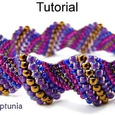Beading Tutorial Pattern Bracelet - Increase Peyote Stitch - Simple Bead Patterns - Neptunia #5084 on Luulla