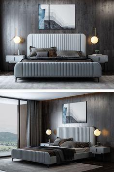 Bedroom Lamps Design, Modern Bedroom Design, Home Decor Bedroom, Bedroom Designs, Bedroom Furniture, Bachelor Bedroom, Double Bed Designs, Living Room Grey, Luxurious Bedrooms