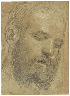 Paris Bordone (1500–1571) Head of a Bearded Sleeping Man, early 1530s Black and white chalk on blue paper faded to green gray Inscribed at l...