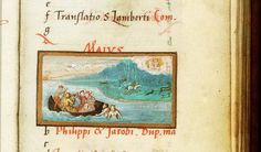 """A southern Netherlandish illumination, 1570-80, """"portraying a ship of fools""""; (The Hague, KB, 75 A2/4).  NO! NOT A SHIP OF FOOLS -- merely the normal' iconog for May -- the maying party of young lovers out in a boat -- there happens to be a single fool with them!     via Koninklijke Bibliotheek, via Europeana"""