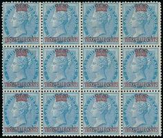 Malaya Straits Settlements. Straits Settlements. 1867 (1 Sept.) Surcharged on Stamps of East India. 1½c. on ½a. blue, a block of twelve (4x3) unused with large part original gum, fine. S.G. 1. Photo  provenance:. Dr. F.E. Wood, December 1964. Thomas Traill, November 1977 (Estimate 3000 - 4000)