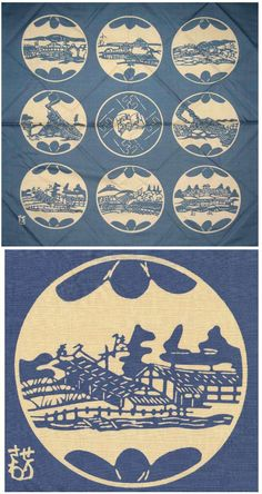 Wall hanging, stencil dyed cloth, 35 x 35 in, light blue and white, nine different depictions of kilms in north-eastern Japan. The same kilms are depicted in a six leaf screen which is shown as item 77 in the 2001 exhibition catalogue of Serizawa's work in Scotland (Serizawa, Master of Japanese Textile Design, Sendai, Japan, Tohoku Fukushi University, Serizawa Keisuke Art and Craft Museum, 2001, oblong 8vo (9 1/2 x 10 in)