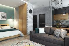 Фотография: в стиле , Скандинавский, Современный, Квартира, Студия, Проект недели, студия для пары, Волгоград, Solo Design, кровать в нише – фото на InMyRoom.ru