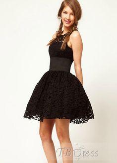 Lovely Sleeveless Lace Bubble Short Length Dress