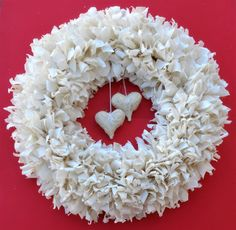 Valentine's Wreath Muslin Wreath Heart Wreath by LeftybutCrafty