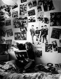 real beatles fan -This is what my sister's room looked like... Beatle wall paper!