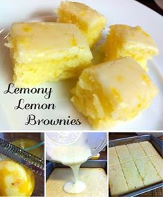 Lemony Lemon Brownies – Food Recipes Ok doesn't go with my new lifestyle but we all deserve a cheat now and then and I'm a sucker for lemon desserts. Just Desserts, Delicious Desserts, Dessert Recipes, Yummy Food, Healthy Lemon Desserts, Dessert Dips, Health Desserts, Dessert Table, Lemon Recipes